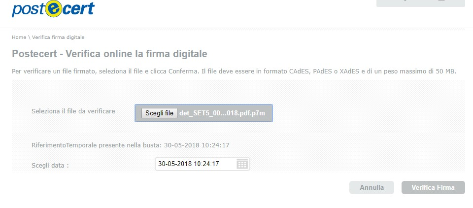 aprire file p7m conferma di lettura firma digitale